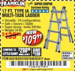 Harbor Freight Coupon 17 FT. TYPE 1A MULTI-TASK LADDER Lot No. 67646/62656/62514/63418/63419/63417 Expired: 5/1/19 - $109.99