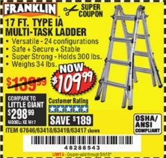 Harbor Freight Coupon 17 FT. TYPE 1A MULTI-TASK LADDER Lot No. 67646/62656/62514/63418/63419/63417 Expired: 5/4/19 - $109.99