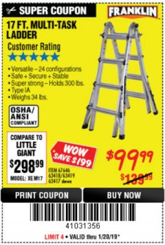 Harbor Freight Coupon 17 FT. TYPE 1A MULTI-TASK LADDER Lot No. 67646/62656/62514/63418/63419/63417 Expired: 1/20/19 - $99.99