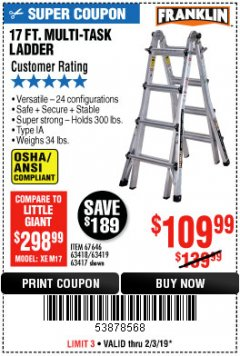 Harbor Freight Coupon 17 FT. TYPE 1A MULTI-TASK LADDER Lot No. 67646/62656/62514/63418/63419/63417 Expired: 2/3/19 - $109.99
