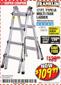 Harbor Freight Coupon 17 FT. TYPE 1A MULTI-TASK LADDER Lot No. 67646/62656/62514/63418/63419/63417 Expired: 2/28/19 - $109.99