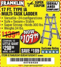 Harbor Freight Coupon 17 FT. TYPE 1A MULTI-TASK LADDER Lot No. 67646/62656/62514/63418/63419/63417 Expired: 5/15/19 - $109.99
