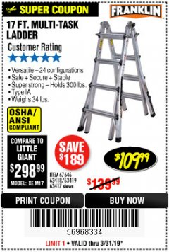 Harbor Freight Coupon 17 FT. TYPE 1A MULTI-TASK LADDER Lot No. 67646/62656/62514/63418/63419/63417 Expired: 3/31/19 - $109.99