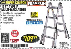 Harbor Freight Coupon 17 FT. TYPE 1A MULTI-TASK LADDER Lot No. 67646/62656/62514/63418/63419/63417 Expired: 4/30/19 - $109.99