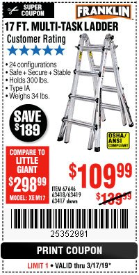 Harbor Freight Coupon 17 FT. TYPE 1A MULTI-TASK LADDER Lot No. 67646/62656/62514/63418/63419/63417 Expired: 3/17/19 - $109.99
