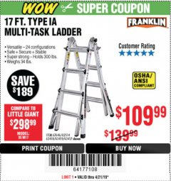 Harbor Freight Coupon 17 FT. TYPE 1A MULTI-TASK LADDER Lot No. 67646/62656/62514/63418/63419/63417 Expired: 4/21/19 - $109.99