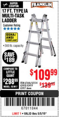 Harbor Freight Coupon 17 FT. TYPE 1A MULTI-TASK LADDER Lot No. 67646/62656/62514/63418/63419/63417 Expired: 5/5/19 - $109.99