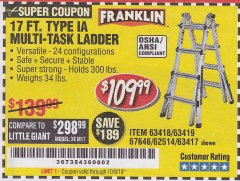 Harbor Freight Coupon 17 FT. TYPE 1A MULTI-TASK LADDER Lot No. 67646/62656/62514/63418/63419/63417 Expired: 10/9/19 - $109.99