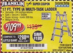Harbor Freight Coupon 17 FT. TYPE 1A MULTI-TASK LADDER Lot No. 67646/62656/62514/63418/63419/63417 Expired: 10/16/19 - $109.99