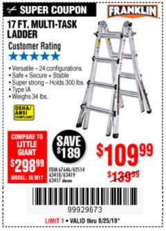 Harbor Freight Coupon 17 FT. TYPE 1A MULTI-TASK LADDER Lot No. 67646/62656/62514/63418/63419/63417 Expired: 8/25/19 - $109.99