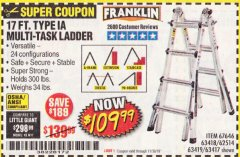Harbor Freight Coupon 17 FT. TYPE 1A MULTI-TASK LADDER Lot No. 67646/62656/62514/63418/63419/63417 Expired: 11/30/19 - $109.99