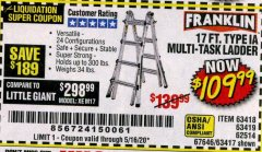 Harbor Freight Coupon 17 FT. TYPE 1A MULTI-TASK LADDER Lot No. 67646/62656/62514/63418/63419/63417 Valid: 3/12/20 - 6/30/20 - $109.99