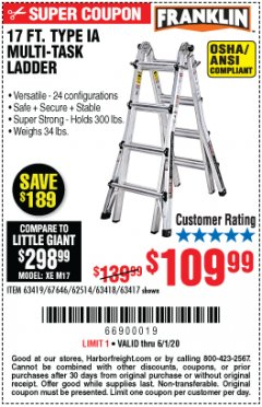 Harbor Freight Coupon 17 FT. TYPE 1A MULTI-TASK LADDER Lot No. 67646/62656/62514/63418/63419/63417 Valid: 3/30/20 - 6/30/20 - $109.99