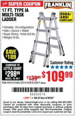Harbor Freight Coupon 17 FT. TYPE 1A MULTI-TASK LADDER Lot No. 67646/62656/62514/63418/63419/63417 Valid Thru: 6/30/20 - $109.99