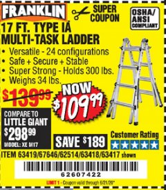 Harbor Freight Coupon 17 FT. TYPE 1A MULTI-TASK LADDER Lot No. 67646/62656/62514/63418/63419/63417 Valid Thru: 6/21/20 - $109.99