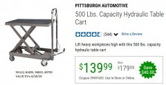 Harbor Freight Coupon 500 LB. CAPACITY HYDRAULIC TABLE CART Lot No. 60730/61405/94822 EXPIRES: 6/30/20 - $139.99
