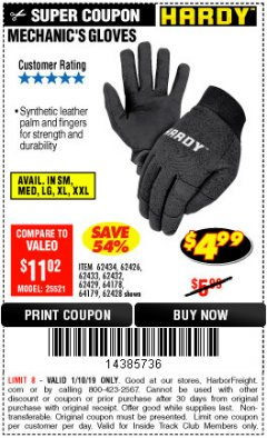 Harbor Freight ITC Coupon MECHANIC'S GLOVES Lot No. 62434/62426/62433/62432/62429/64178/64179/62428 Expired: 1/10/19 - $4.99