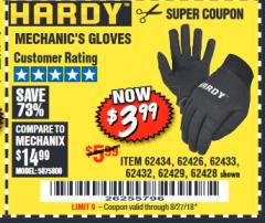 Harbor Freight Coupon MECHANIC'S GLOVES Lot No. 62434/62426/62433/62432/62429/64178/64179/62428 Expired: 8/27/18 - $3.99
