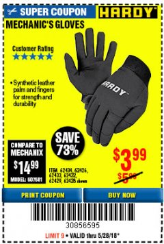 Harbor Freight Coupon MECHANIC'S GLOVES Lot No. 62434/62426/62433/62432/62429/64178/64179/62428 Expired: 5/28/18 - $3.99