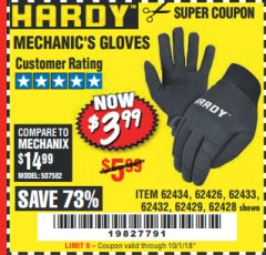 Harbor Freight Coupon MECHANIC'S GLOVES Lot No. 62434/62426/62433/62432/62429/64178/64179/62428 Expired: 10/1/18 - $3.99