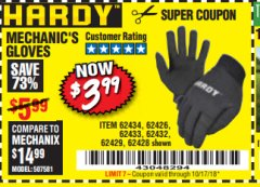 Harbor Freight Coupon MECHANIC'S GLOVES Lot No. 62434/62426/62433/62432/62429/64178/64179/62428 Expired: 10/17/18 - $3.99