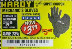 Harbor Freight Coupon MECHANIC'S GLOVES Lot No. 62434/62426/62433/62432/62429/64178/64179/62428 Expired: 10/30/18 - $3.99