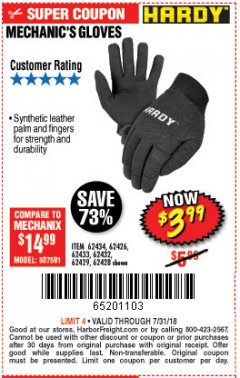 Harbor Freight Coupon MECHANIC'S GLOVES Lot No. 62434/62426/62433/62432/62429/64178/64179/62428 Expired: 7/31/18 - $3.99