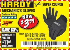 Harbor Freight Coupon MECHANIC'S GLOVES Lot No. 62434/62426/62433/62432/62429/64178/64179/62428 Expired: 11/15/18 - $3.99