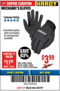 Harbor Freight Coupon MECHANIC'S GLOVES Lot No. 62434/62426/62433/62432/62429/64178/64179/62428 Expired: 8/5/18 - $3.99