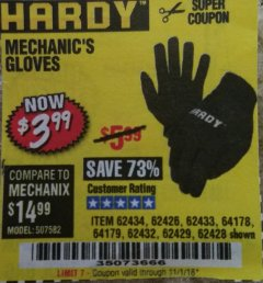 Harbor Freight Coupon MECHANIC'S GLOVES Lot No. 62434/62426/62433/62432/62429/64178/64179/62428 Expired: 11/1/18 - $3.99