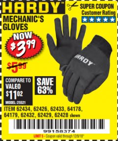 Harbor Freight Coupon MECHANIC'S GLOVES Lot No. 62434/62426/62433/62432/62429/64178/64179/62428 Expired: 12/9/18 - $3.99