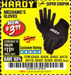 Harbor Freight Coupon MECHANIC'S GLOVES Lot No. 62434/62426/62433/62432/62429/64178/64179/62428 Expired: 12/20/18 - $3.99
