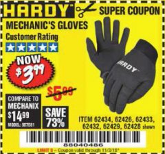Harbor Freight Coupon MECHANIC'S GLOVES Lot No. 62434/62426/62433/62432/62429/64178/64179/62428 Expired: 11/3/18 - $3.99