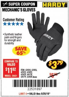 Harbor Freight Coupon MECHANIC'S GLOVES Lot No. 62434/62426/62433/62432/62429/64178/64179/62428 Expired: 8/26/18 - $3.79