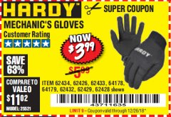 Harbor Freight Coupon MECHANIC'S GLOVES Lot No. 62434/62426/62433/62432/62429/64178/64179/62428 Expired: 12/26/18 - $3.99