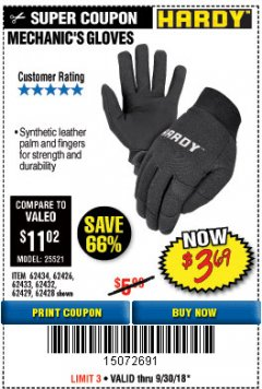 Harbor Freight Coupon MECHANIC'S GLOVES Lot No. 62434/62426/62433/62432/62429/64178/64179/62428 Expired: 9/30/18 - $3.69