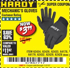 Harbor Freight Coupon MECHANIC'S GLOVES Lot No. 62434/62426/62433/62432/62429/64178/64179/62428 Expired: 11/30/18 - $3.99