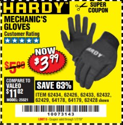Harbor Freight Coupon MECHANIC'S GLOVES Lot No. 62434/62426/62433/62432/62429/64178/64179/62428 Expired: 1/7/19 - $3.99