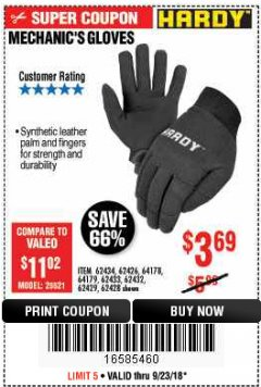 Harbor Freight Coupon MECHANIC'S GLOVES Lot No. 62434/62426/62433/62432/62429/64178/64179/62428 Expired: 9/23/18 - $3.69