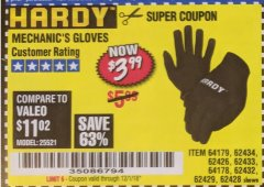 Harbor Freight Coupon MECHANIC'S GLOVES Lot No. 62434/62426/62433/62432/62429/64178/64179/62428 Expired: 12/1/18 - $3.99
