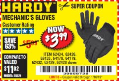 Harbor Freight Coupon MECHANIC'S GLOVES Lot No. 62434/62426/62433/62432/62429/64178/64179/62428 Expired: 1/16/19 - $3.99