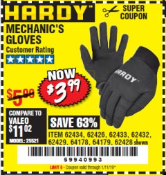Harbor Freight Coupon MECHANIC'S GLOVES Lot No. 62434/62426/62433/62432/62429/64178/64179/62428 Expired: 1/11/19 - $3.99