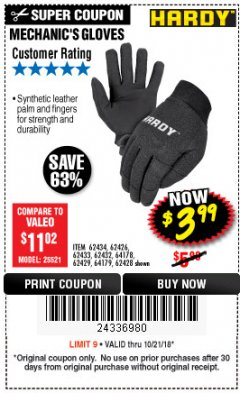 Harbor Freight Coupon MECHANIC'S GLOVES Lot No. 62434/62426/62433/62432/62429/64178/64179/62428 Expired: 10/21/18 - $3.99