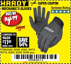 Harbor Freight Coupon MECHANIC'S GLOVES Lot No. 62434/62426/62433/62432/62429/64178/64179/62428 Expired: 3/1/19 - $4.99