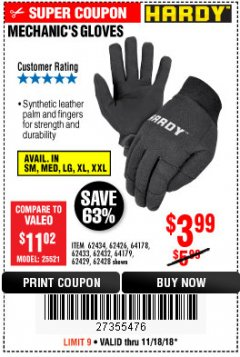 Harbor Freight Coupon MECHANIC'S GLOVES Lot No. 62434/62426/62433/62432/62429/64178/64179/62428 Expired: 11/18/18 - $3.99