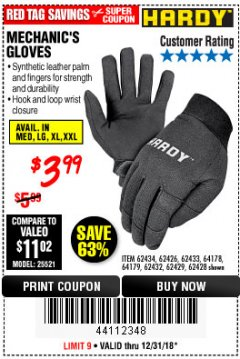 Harbor Freight Coupon MECHANIC'S GLOVES Lot No. 62434/62426/62433/62432/62429/64178/64179/62428 Expired: 12/31/18 - $3.99