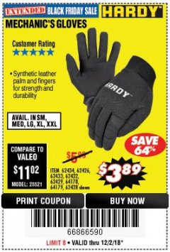 Harbor Freight Coupon MECHANIC'S GLOVES Lot No. 62434/62426/62433/62432/62429/64178/64179/62428 Expired: 12/2/18 - $3.89