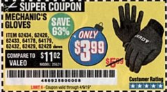 Harbor Freight Coupon MECHANIC'S GLOVES Lot No. 62434/62426/62433/62432/62429/64178/64179/62428 Expired: 4/1/19 - $3.99