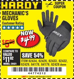 Harbor Freight Coupon MECHANIC'S GLOVES Lot No. 62434/62426/62433/62432/62429/64178/64179/62428 Expired: 4/18/19 - $4.99