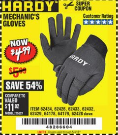 Harbor Freight Coupon MECHANIC'S GLOVES Lot No. 62434/62426/62433/62432/62429/64178/64179/62428 Expired: 5/4/19 - $4.99